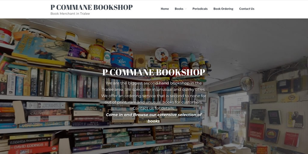 P Commane Bookshop Website